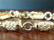 "7"" BARREL LINK DESIGN BRACELET REAL 14K YELLOW & WHITE GOLD 12g"